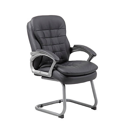 Boss Office Products Pillow-Top Vinyl Mid-Back Guest Chair, Black/Silver