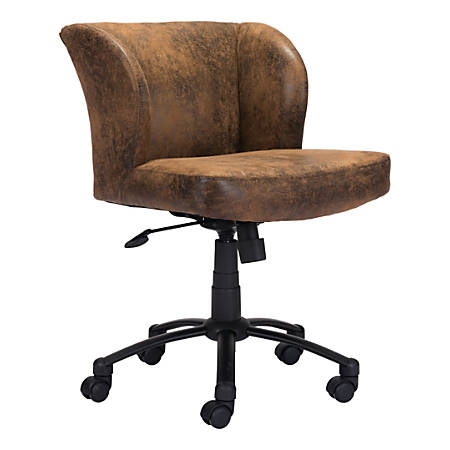 Zuo® Modern Shaw Mid-Back Chair, Brown/Black
