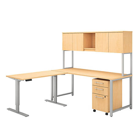 """Bush Business Furniture 400 Series 72""""W L Shaped Desk And Height Adjustable Return With Hutch And Storage, Natural Maple, Standard Delivery"""