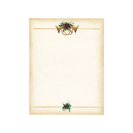 "Great Papers!® Holiday-Themed Letterhead Paper, 8 1/2"" x 11"", Antique Horns, Pack Of 80 Sheets"