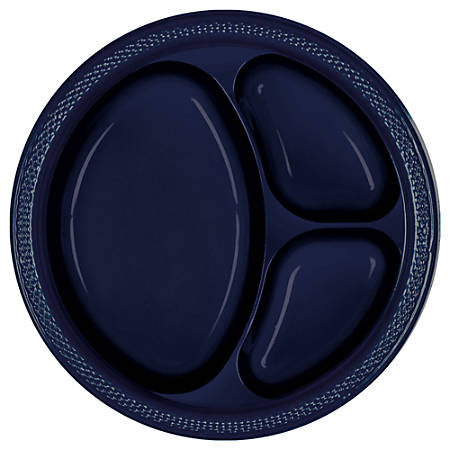 "Amscan Divided Round Plates, 10-1/4"", True Navy, Pack Of 40 Plates"