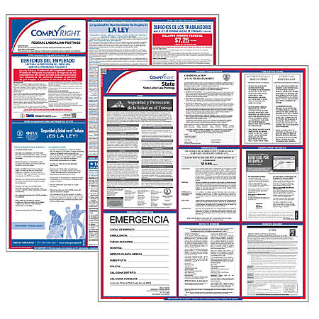 """ComplyRight™ Puerto Rico Federal/State Labor Law Spanish Poster Kit, 34"""" x 24"""""""