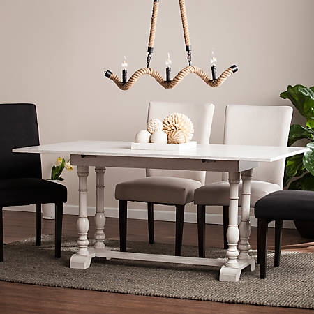 Southern Enterprises Edenderry Farmhouse Folding Trestle Console-To-Dining Table, Rectangular, White