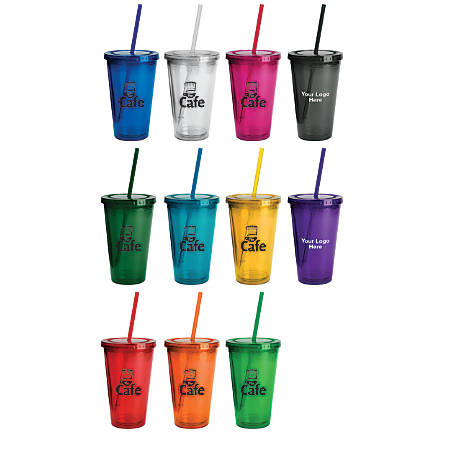 Double-Wall Insulated Acrylic Tumbler With Straw, 16 Oz.