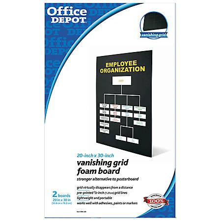 """Office Depot® Brand Vanishing Grid Foam Boards, 20"""" x 30"""", Black, Pack Of 2"""