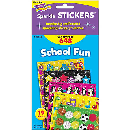 Trend School Fun little sparkler Stickers - Fun Theme/Subject (Apple, Star, Smilies, Penguin, Frog Fun) Shape - Self-adhesive - Merry Music, Star Sports, Brilliant Birthday - Acid-free, Fade Resistant, Non-toxic, Photo-safe - Multicolor - 648 / Pack