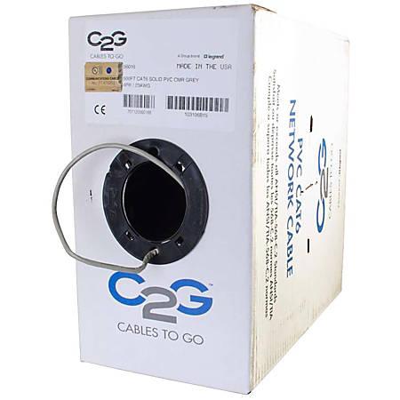 C2G 500ft Cat6 Bulk Ethernet Network Cable-Solid UTP-Riser CMR Gray TAA