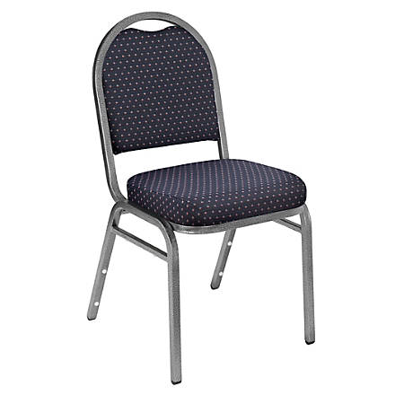 National Public Seating Dome-Back Stacking Chairs, Fabric, Diamond Navy/Silvervein, Set Of 2