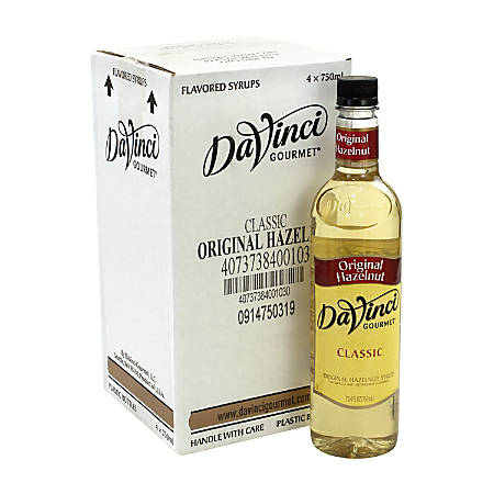 DaVinci Gourmet Syrup, Hazelnut, 25.36 Oz, Pack Of 4 Bottles