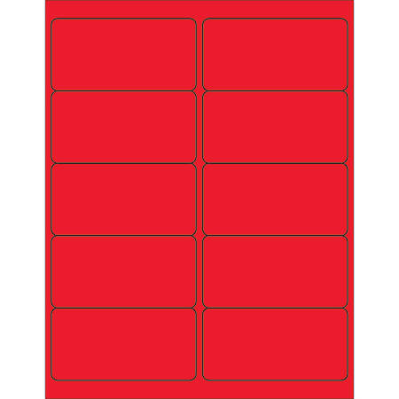 "Office Depot® Brand Labels, LL178RD, Rectangle, 4"" x 2"", Fluorescent Red, Case Of 1,000"