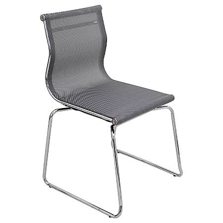 """LumiSource Mirage Mesh Conference/Guest Chair, 35""""H x 22""""W x 20 1/2""""L, Silver/Chrome"""