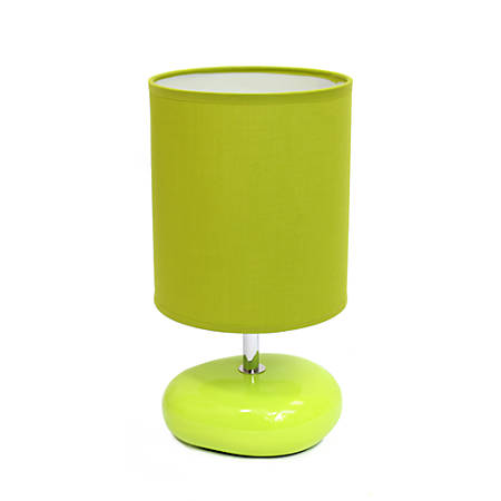 """Simple Designs Stonies Bedside Table Lamp, 10 1/2""""H, Green Shade/Green Base"""