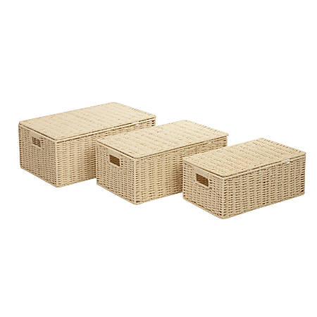 Honey-Can-Do Paper Rope Baskets, Butter, Set Of 3