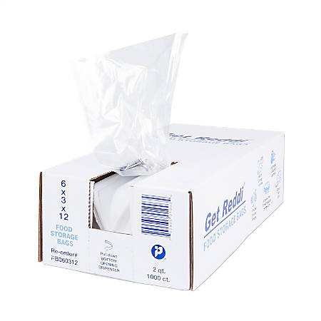 """Inteplast Poly Food Bags, 0.68 mil, 6""""H x 3""""W x 12""""D, Natural, Pack Of 1,000 Bags"""