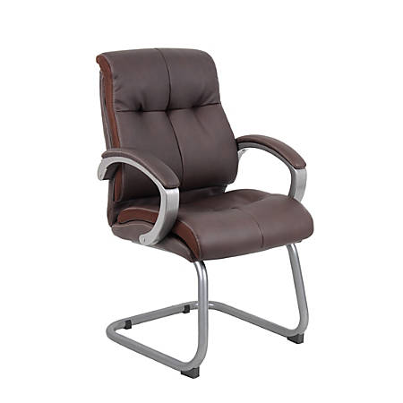 Boss Office Products Double-Plush Leather Mid-Back Guest Chair, Brown/Pewter