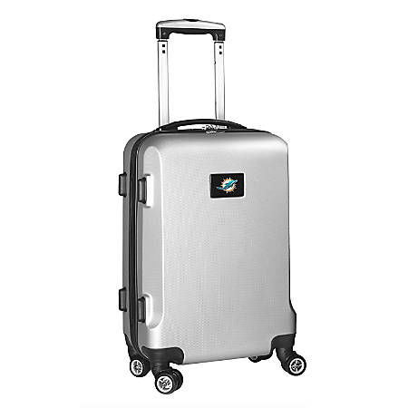 """Denco 2-In-1 Hard Case Rolling Carry-On Luggage, 21""""H x 13""""W x 9""""D, Miami Dolphins, Silver"""