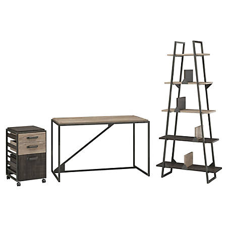 """Bush Furniture Refinery Industrial Desk With A Frame Bookshelf And Mobile File Cabinet, 50""""W, Rustic Gray/Charred Wood, Standard Delivery"""