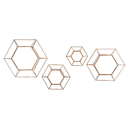 Zuo Modern Hexagon Mirrors, Antique, Set Of 4 Mirrors