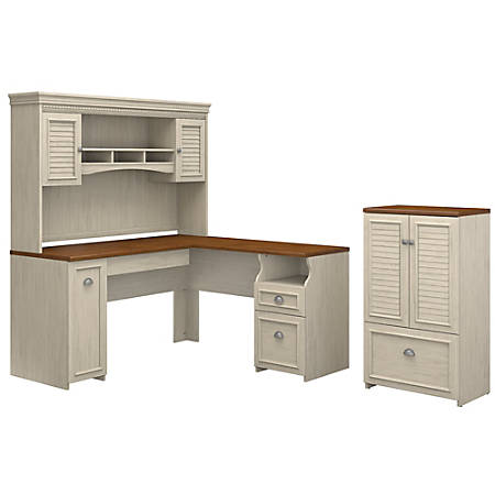 Bush Furniture Fairview 60 W L Shaped Desk With Hutch And Storage Cabinet Drawer Antique White Tea Maple Standard Delivery Item 8473103