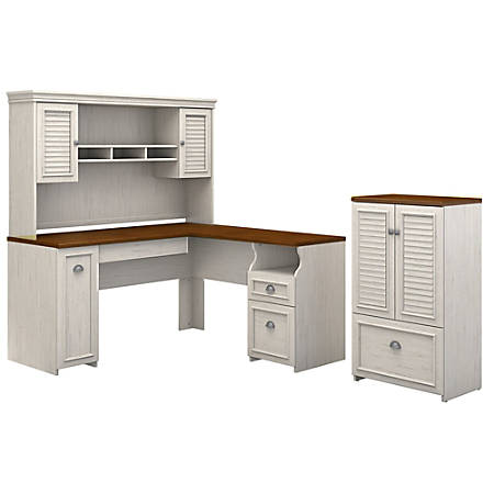 Stupendous Bush Furniture Fairview 60W L Shaped Desk With Hutch And Storage Cabinet With Drawer Antique White Tea Maple Standard Delivery Item 8473103 Download Free Architecture Designs Scobabritishbridgeorg