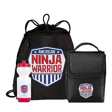 American Ninja Warrior Cinch Backpack, Lunchbox And Water Bottle Set, Black