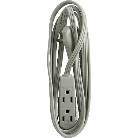 GE 3-Outlet Office Extension Cord, 8', Gray