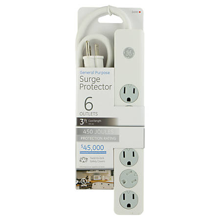 GE 6-Outlet Surge Protector, 3' Cord, White