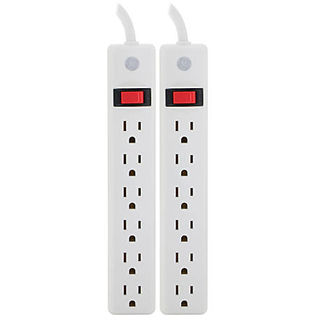 GE 6-Outlet Power Strip, 2' Cord, White, Pack Of 2
