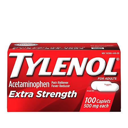 Tylenol Extra-Strength Caplets, Box of 100 Caplets