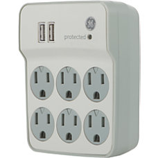 GE 6 Outlet2 USB Port Surge