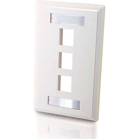 C2G 3-Port Single Gang Multimedia Keystone Wall Plate - White - 3 x Socket(s) - White