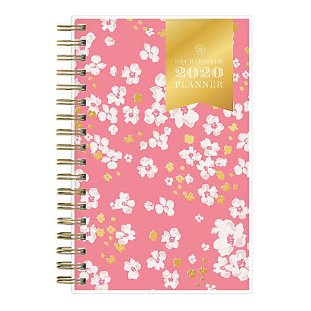 "Blue Sky™ Day Designer Sentimental Flower Coral Weekly/Monthly Planner, 6-1/8"" x 3-5/8"", Multicolor, January to December 2020"