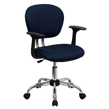 Flash Furniture Mesh Mid-Back Swivel Task Chair With Arms, Navy/Silver