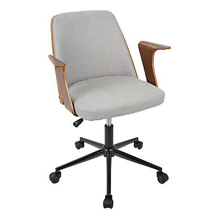 Tremendous Lumisource Verdana Mid Century Modern Mid Back Chair Gray Walnut Black Item 8478969 Machost Co Dining Chair Design Ideas Machostcouk