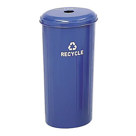 Safco® Round Recycling Receptacle With Lid, 20 Gallons, Blue