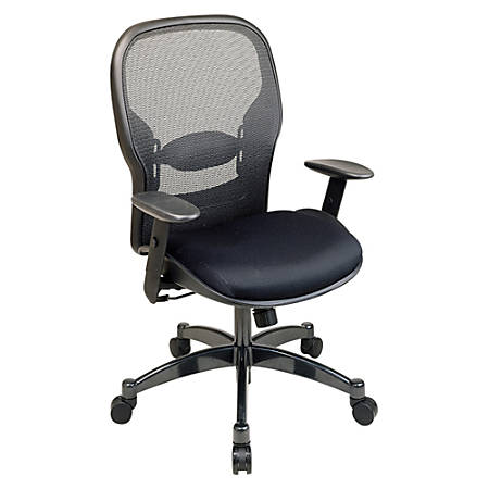 "Office Star™ Professional Matrex® Mesh Chair, 46 1/4""H x 27 1/4""W x 25 3/4""D, Gunmetal Frame, Black Fabric"