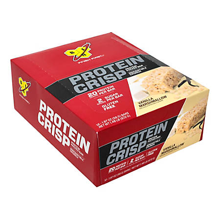BSN Finish First Protein Crisp Protein Bars, Vanilla Marshmallow, 1.97 Oz, Box Of 12 Bars