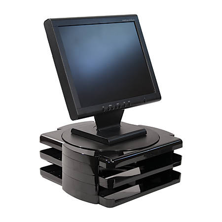 "Brenton Studio™ Essential Elements Monitor Stand With 2 Letter-Size Trays, 5 2/5""H x 13 1/2""W x 13 3/5""D, Black"