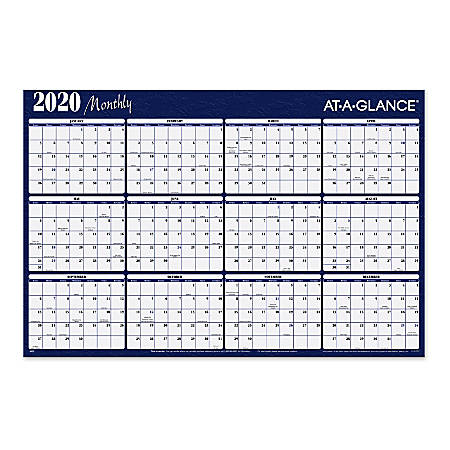"AT-A-GLANCE® Yearly Erasable Wall Calendar, 48"" x 32"", Blue/Red, January To December 2020, A152"