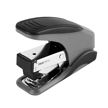 Office Depot® Brand TruePress Reduced Effort Mini Stapler, Black/Gray