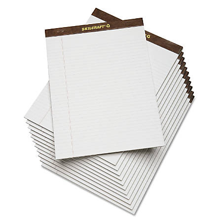 """SKILCRAFT® 30% Recycled Perforated Writing Pads, 8 1/2"""" x 11"""", White, Legal Ruled, Pack Of 12 (AbilityOne 7530-01-372-3108)"""