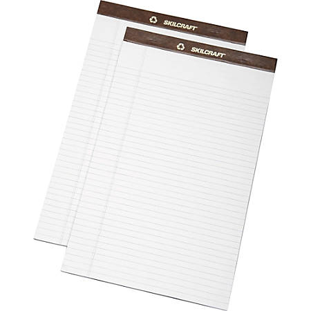 """SKILCRAFT® 30% Recycled Perforated Writing Pads, 8 1/2"""" x 14"""", White, Legal Ruled, Pack Of 12 (AbilityOne 7530-01-372-3109)"""