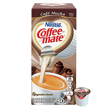 Nestlé® Coffee-Mate Liquid Creamer Singles, Café Mocha, 0.38 Oz, Box Of 50 Singles