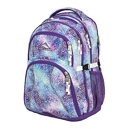 "High Sierra® Swerve Backpack With 17"" Laptop Pocket, Deep Purple/Flower Daze"
