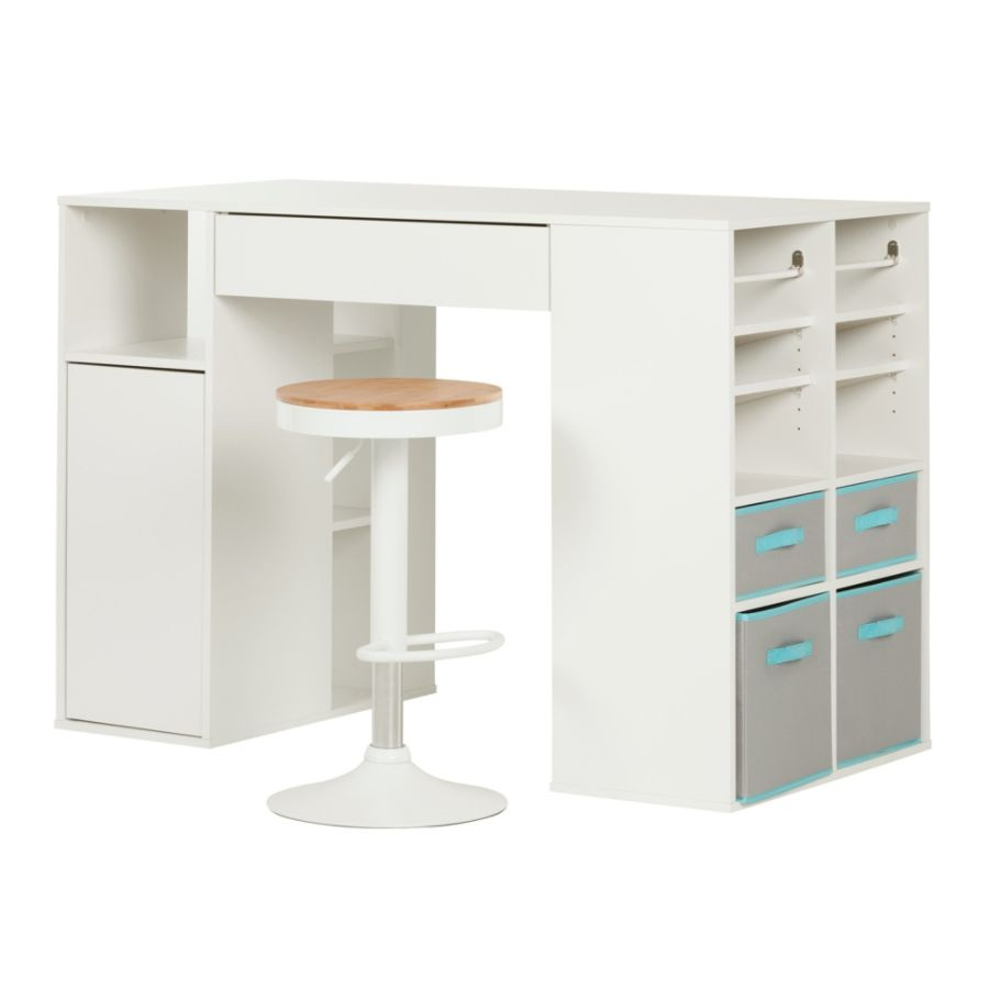 South Shore Furniture Crea Counter Height Rectangle Craft Table With Stool  Pure White By Office Depot U0026 OfficeMax