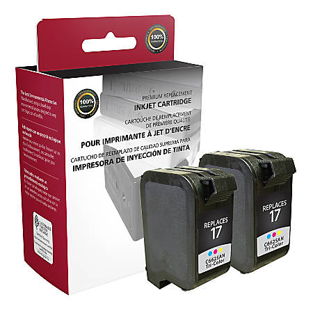 Clover Imaging Group OD25ANX2 Remanufactured Ink Cartridges Replacement For HP 17 Tricolor, Pack Of 2