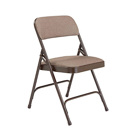 National Public Seating 2200 2-Hinge Folding Chairs, Walnut/Brown, Set Of 4 Chairs