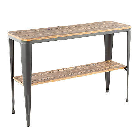 Lumisource Oregon Industrial Console Table, Rectangular, Bamboo/Gray