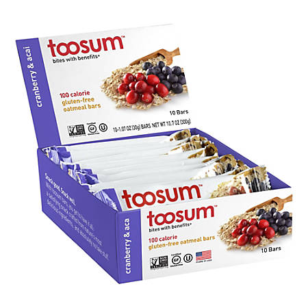 Toosum Healthy Foods Oatmeal Bars, Cranberry and Acai, 1.07 Oz, Pack Of 20 Bars