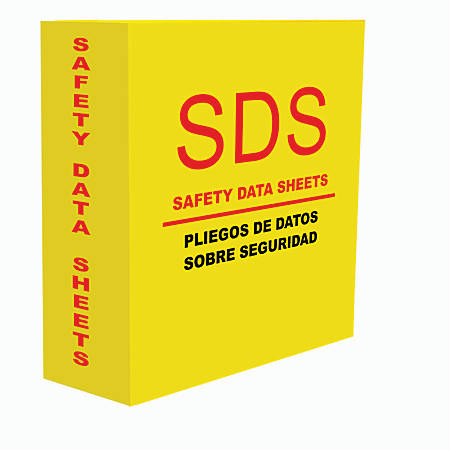 """Aurora GB MSDS Binder, 3"""" Rings, 39% Recycled, 500-Sheet Capacity, Safety Yellow"""